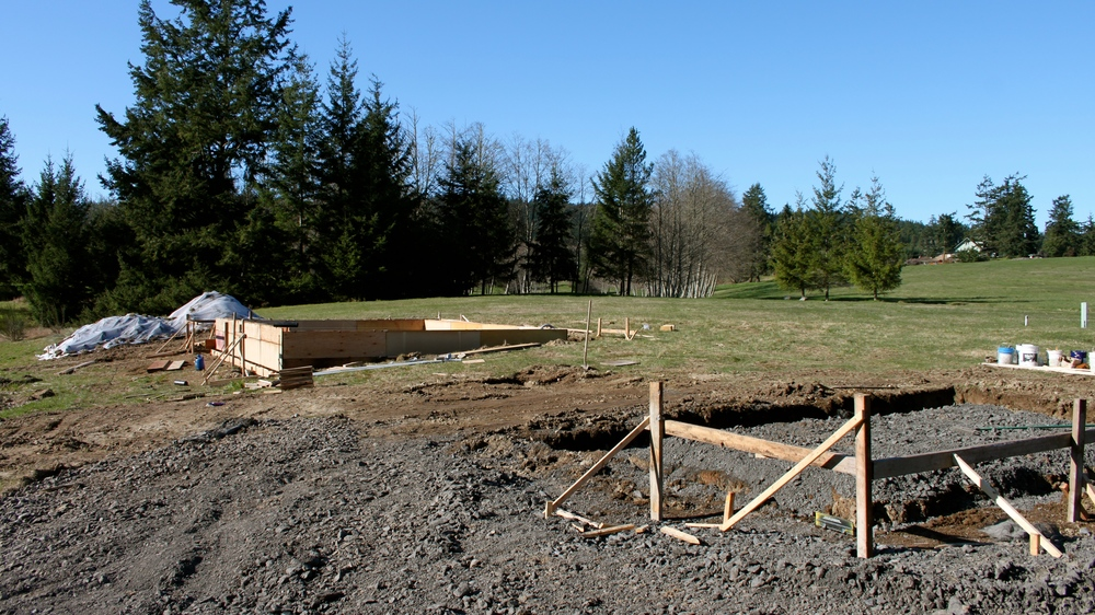 Foundation form work for the house & garage on San Juan Island, Washington.
