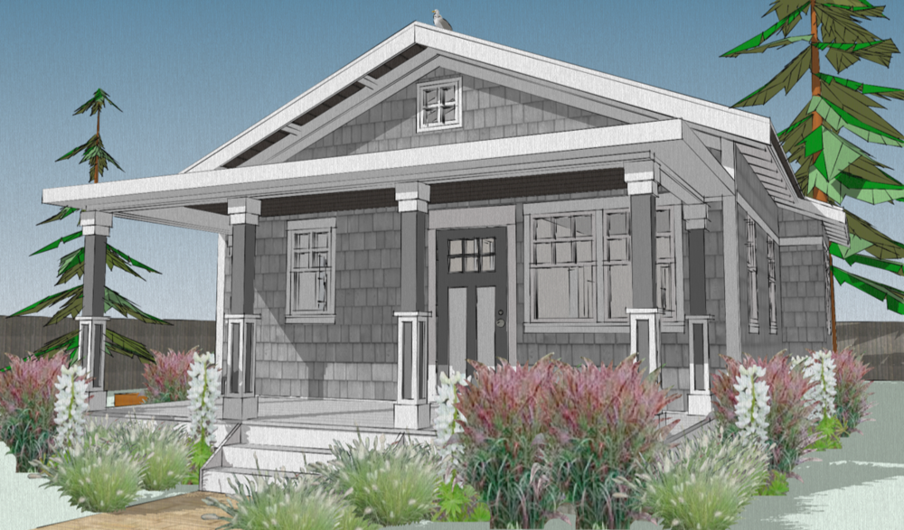 The Lupine - 856 sq ft 2 bedroom, single floor house plan - Free!