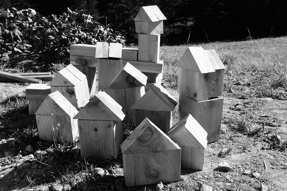 What do you do with leftover cedar scraps? Build a village of course!