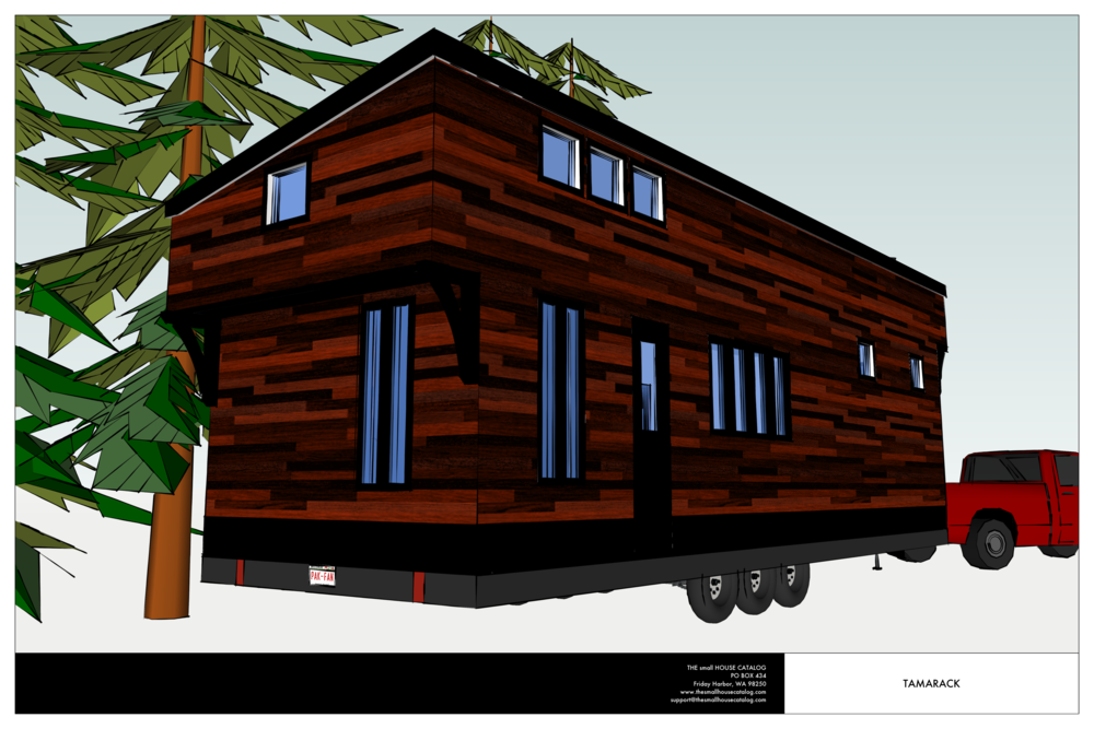 Tamarack modern shed roof tiny house with loft the for Free tiny house plans with loft