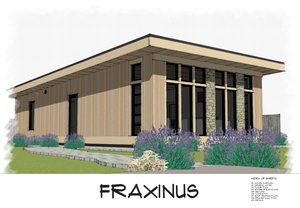 Fraxinus is a shed roof style modern small house plan featuring 800