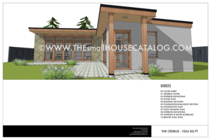 Free House Plans   THE small HOUSE CATALOG   Cedrus Modern house plan