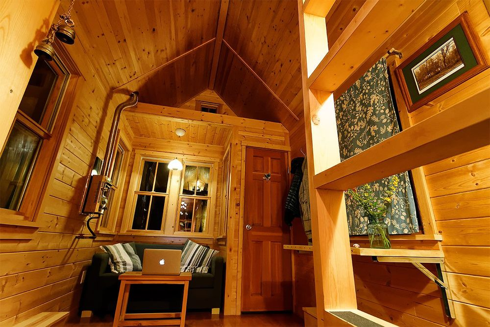No    Tiny House Plan  Free PDF plan      THE small HOUSE    tiny house living room   fireplace