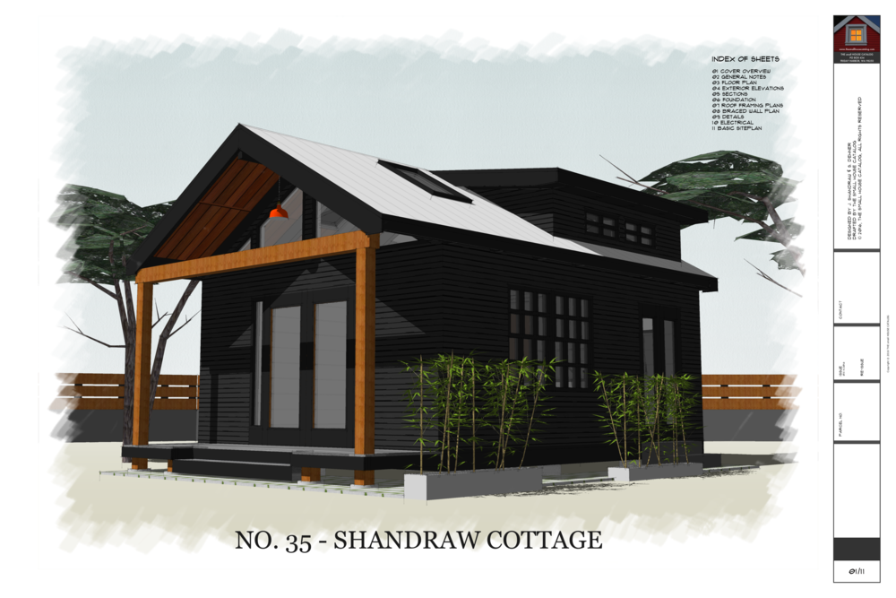 No 35 shandraw cottage 320 sq ft 16 39 x 20 39 house with porch kitchenette and bath small - Free cottage house plans image ...