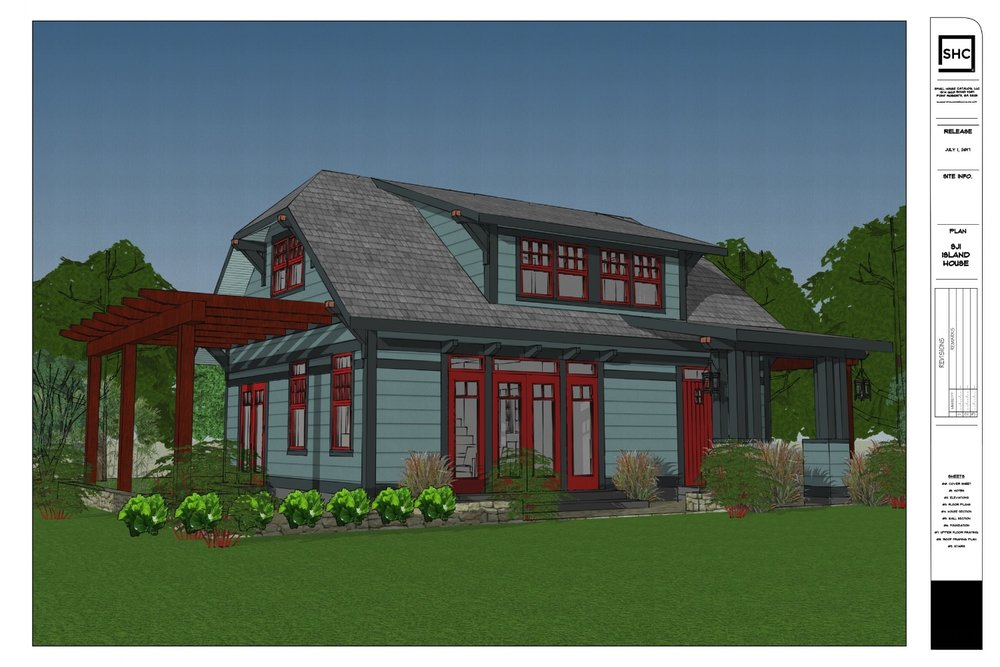 2 story bungalow farmhouse building plan with two bedrooms.