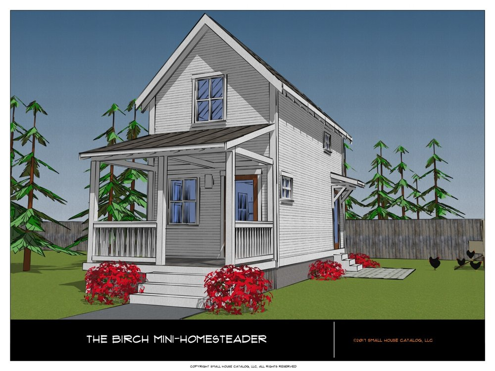 2 story mini farmhouse with one bedroom and gable roof. Full PDF plan.