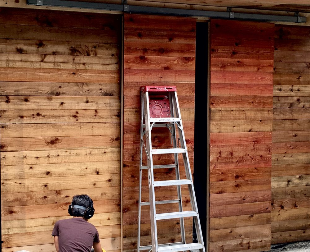 shed with sliding box rail doors