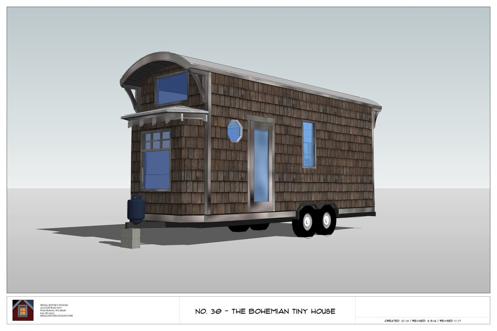 The Bohemian tiny house plan with kitchen, bath, stairs and lofts.