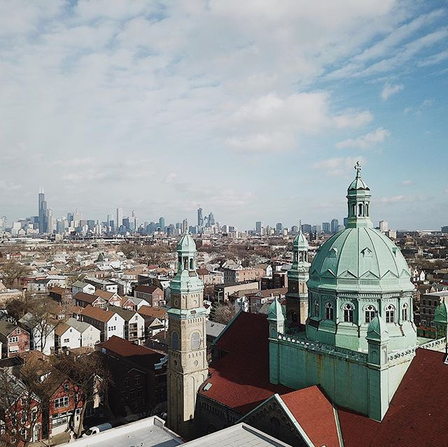 Beautiful capture of my Church's dome, St. Mary of Perpetual Help in Bridgeport by @mirarmedia. Designed by Henry Engelbert in Romanesque-Byzantine style, completed in 1889 by Polish immigrants. Proud to call this little slice of heaven on earth my home. It's been quite a journey for me spiritually the last 10 years, but because of this church (and in part, my recent trip to Rome) I for the first time feel spiritually whole and at rest...thank you, St. Mary's. #deepthoughts #catholicchurch #fullcircle #bridgeportchicago