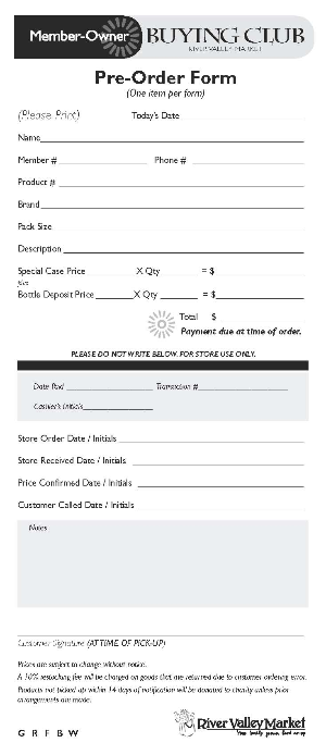 Member-Owner Buying Club Order Form
