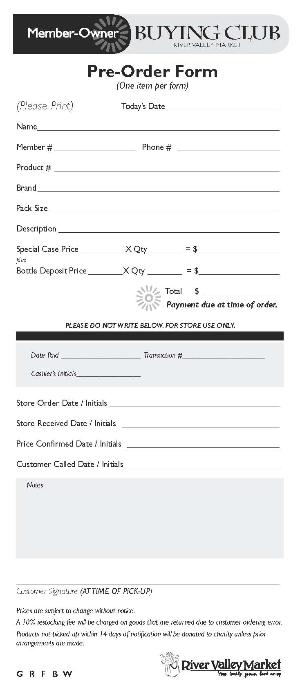 Member-Owner Buying Club Order Form