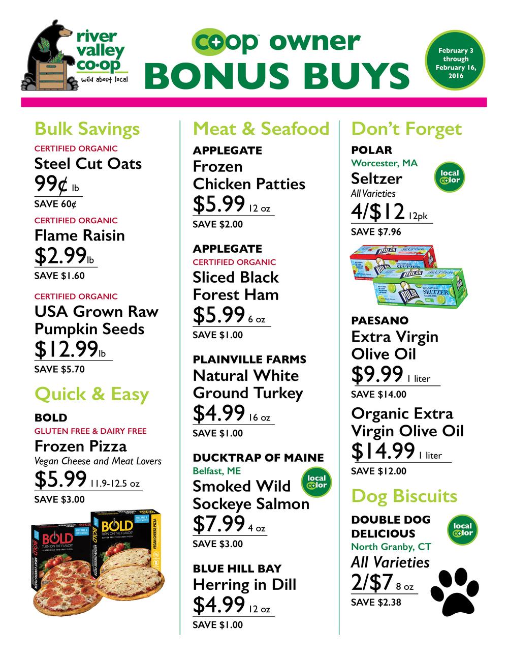 Co-op Owner Bonus Buys February 3 – 16, 2016