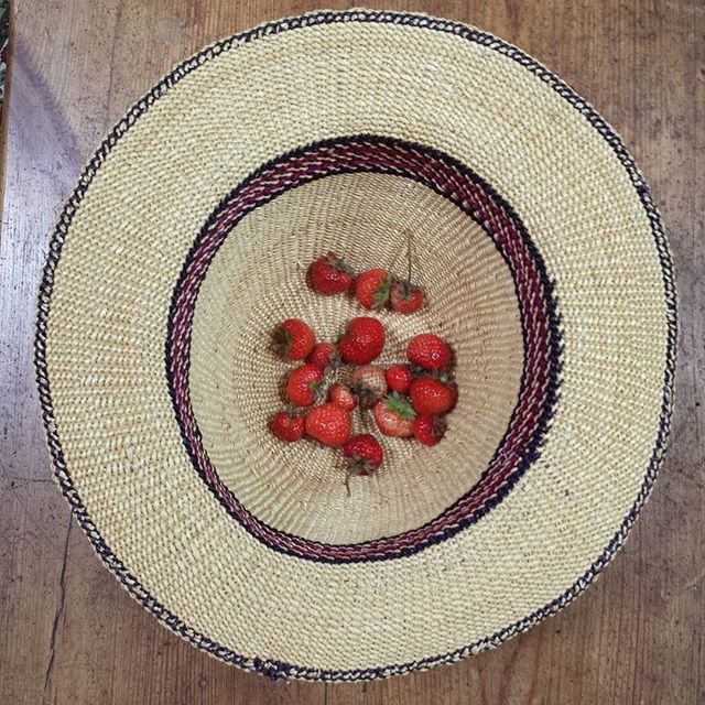 The blessings of fresh strawberries gathered in your hat!