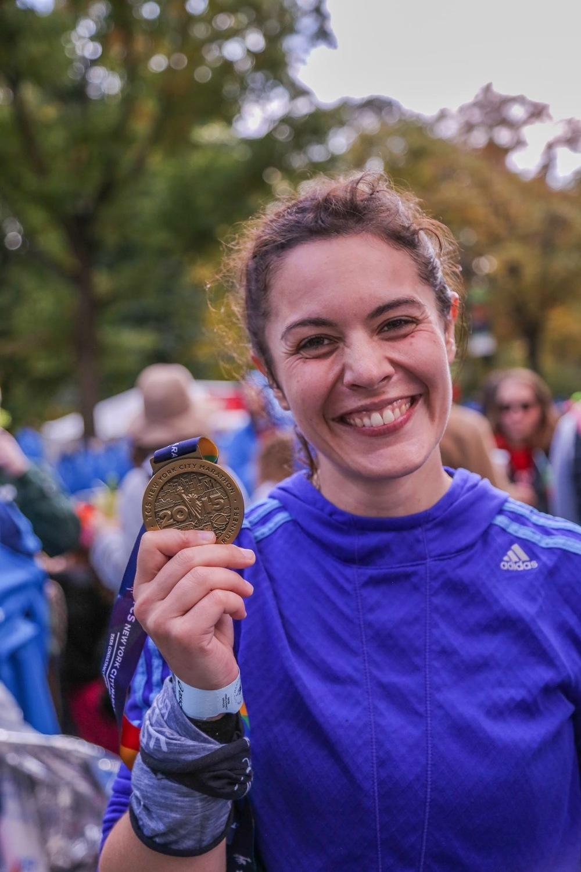 Karine Caillas à l'arrivée du Marathon de New York