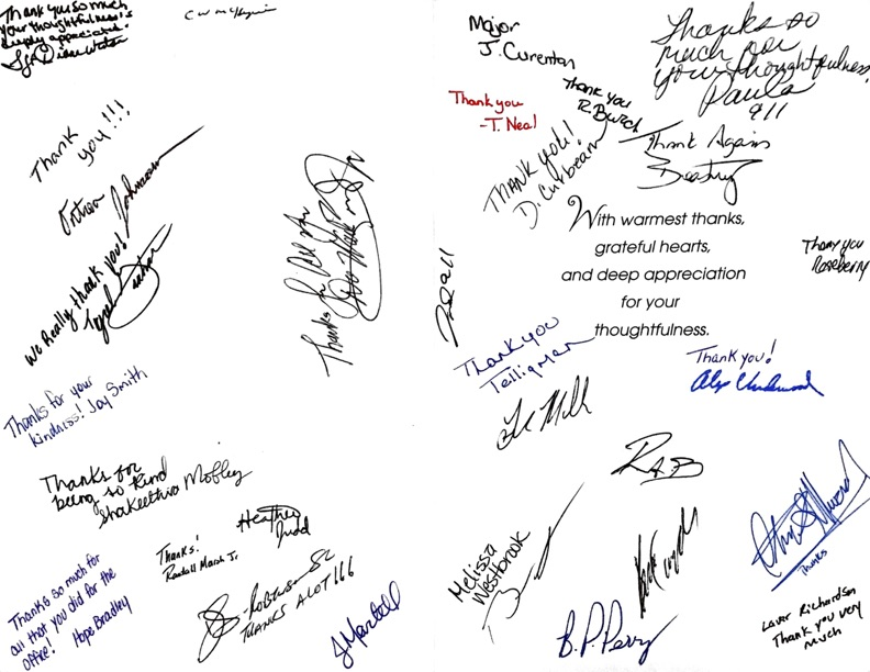 Thank you card from some of our local law enforcement staff