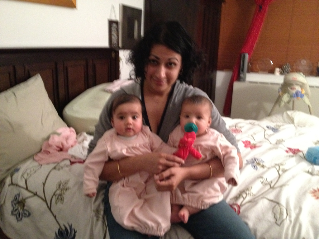 Double trouble. Some would say triple trouble. But I can only confirm after finding a matching pink sleeping gown.