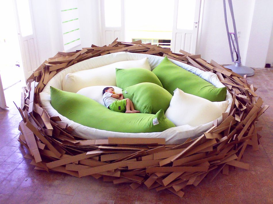 """thedailywhat :      Human-Sized Bird's Nest of the Day:  The  Giant Birdsnest  from O*GE was designed to be a multi-purpose creativity space for """"creating new ideas.""""   Part furniture, part playground, the inspiration incubator comfortably seats 16 and """"needs no explanation or user manual"""": Do whatever you want inside, just clean up after you're done.   [ gizmodo .]     This is amazing. Must buy one right now."""