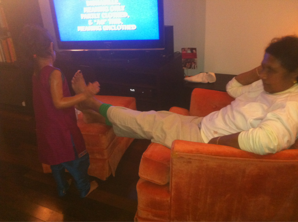 Follow up: granddaughter massages grandmom's feet.     It's unreal.     An amazing multi-generational moment. Of sorts. P