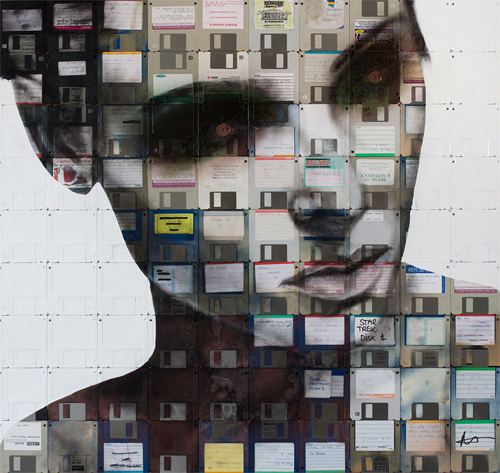 karenh :      Nick Gentry  creates portraits by painting on obsolete floppy disks. The end result looks incredible.
