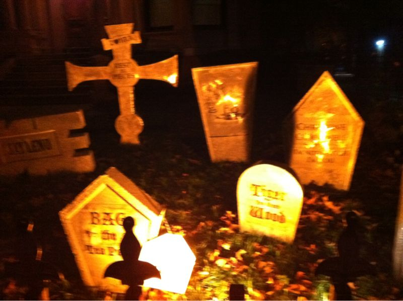 Amazing Halloween graveyard in fort greene.