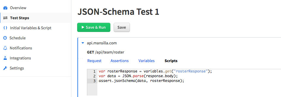 Validating json request