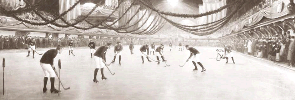 Photo of first indoor ice hockey game. (source:  Wikipedia )