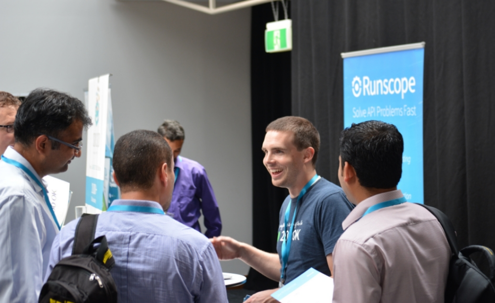 Runscope Co-founder and CEO John Sheehan answering questions after his keynote presentation at APIdays Sydney earlier this year. Photo credit.