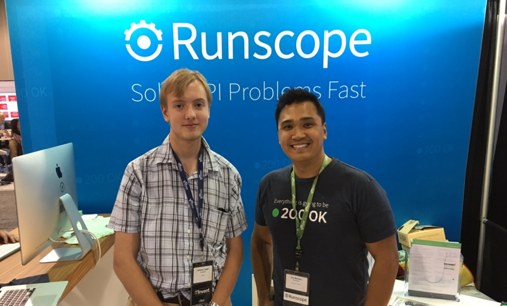 Anthony Topper (left) visits the Runscope booth in the expo hall at AWS re:Invent last week in Las Vegas with Neil Mansilla, VP of Developer Relations at Runscope.