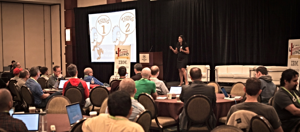 Neha Sampat of Built.io presents a keynote on day 2 of the conference, image from APIStrat.