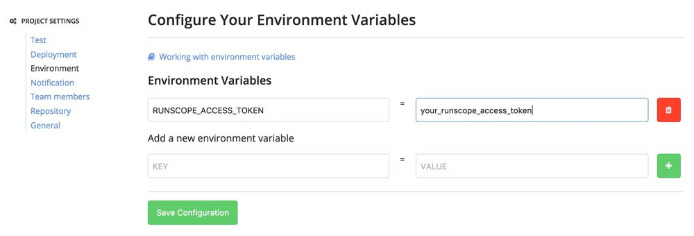 "A Codeship environment project settings page, showing how to set the environment variable ""RUNSCOPE_ACCESS_TOKEN"""