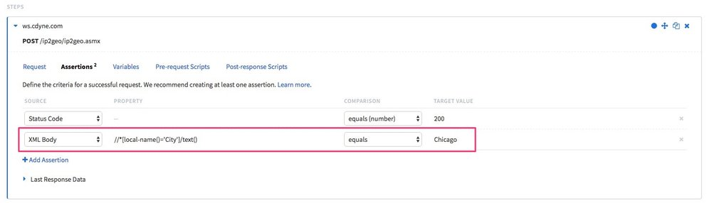 "Showing a new assertion added to our request step to extract the ""City"" element from our XML response and compare it to the string ""Chicago""."