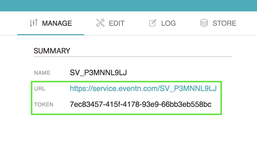 Eventn's dashboard, displaying the manage tab of a microservice and highlighting the URL and Token parameters.