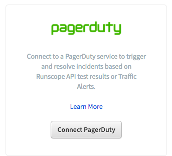 Runscope's Integration page showing the PagerDuty integration highlighted