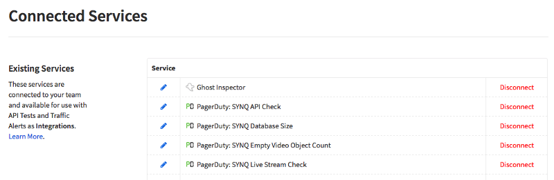The Connected Services tab inside the user's Runscope account displaying a list of existing services, including Ghost Inspector and the PagerDuty integration setup in the previous steps