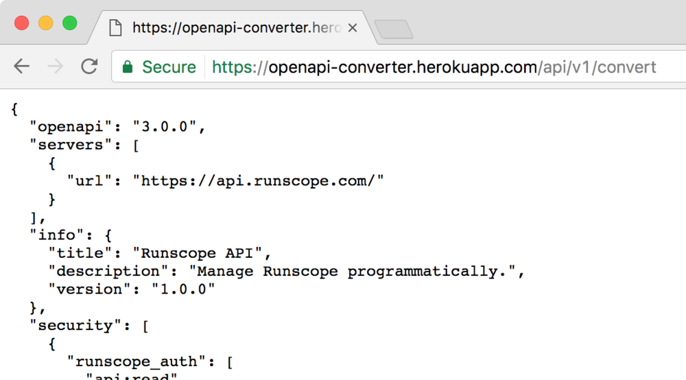 "The result page after hitting ""Convert Swagger/OpenAPI 2.0"" button in the converter app, showing the first few JSON lines of the Runscope API schema, now in v3."