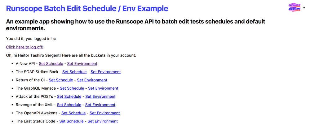 Displaying the list of buckets in a Runscope account, after successful authentication of the runscope-batch-edit Glitch app