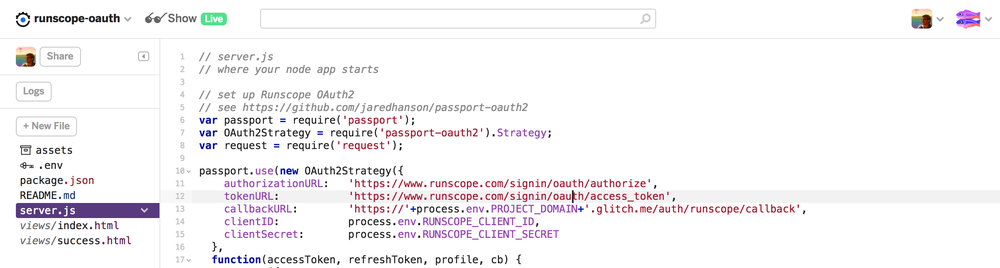 The Glitch code editor showing the runscope-oauth project with the beginning of the server.js JavaScript file