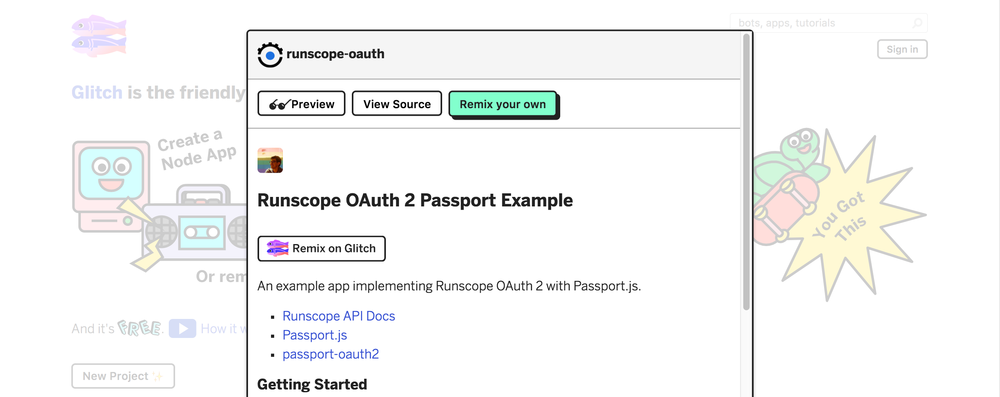The Glitch website, showing the runscope-oauth project's detail page, with three buttons (Preview, View Source, and Remix your own) under the project's name, and the beginning of its README