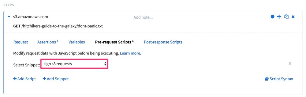 "The same request step in Editor mode from the previous image, but this time with the Pre-request Scripts tab selected. The ""Select Snippet:"" dropdown menu has the ""sign s3 requests"" snippet selected and highlighted."