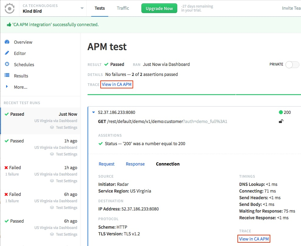 Runscope API test result page, highlighting the 'Trace: View in CA APM' link at the top of the page, and the same text inside a request's expanded 'Connection' tab