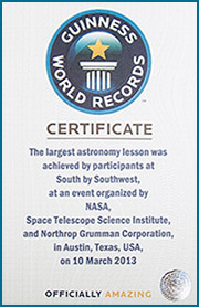 Guinness World Record for Largest Astronomy Lesson by the Guinness World Records organization