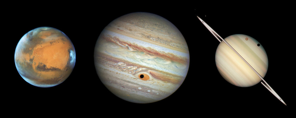 Note that on this composite, the planets are not to scale. In reality, the diameter of Mars is less than 1/20th that of Jupiter, or about the size of Ganymede's shadow. Saturn is about 85% of the diameter of Jupiter—about 1.5 times larger than shown here.