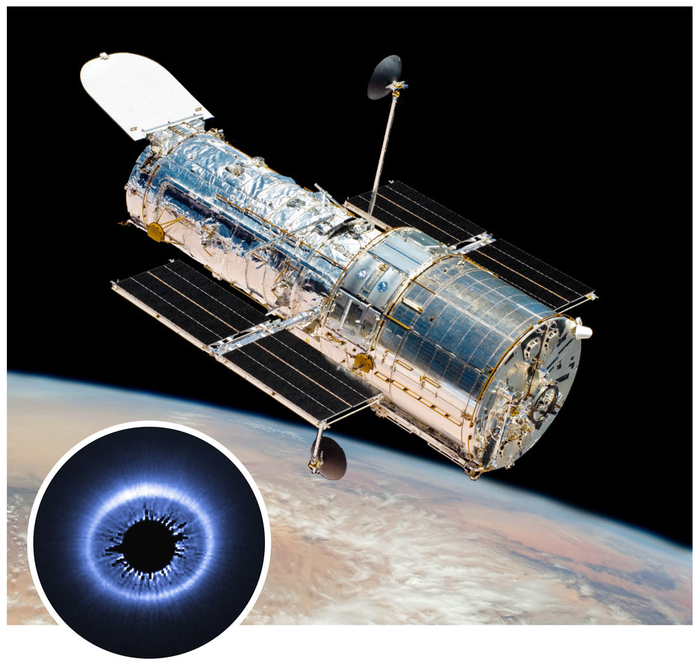 Hubble Space Telescope , photographed by astronauts aboard the Space Shuttle Atlantis during the telescope's final servicing mission in May, 2009.  (Inset) Eclipse-on-Demand: A coronagraph is used to block light from a nearby star, revealing a previously undetected ring of dust that is otherwise overwhelmed by the light of the star. Hubble Space Telescope, STIS, 2014. Credit: NASA, ESA, G. Schneider (University of Arizona), and the HST/GO 12228 Team