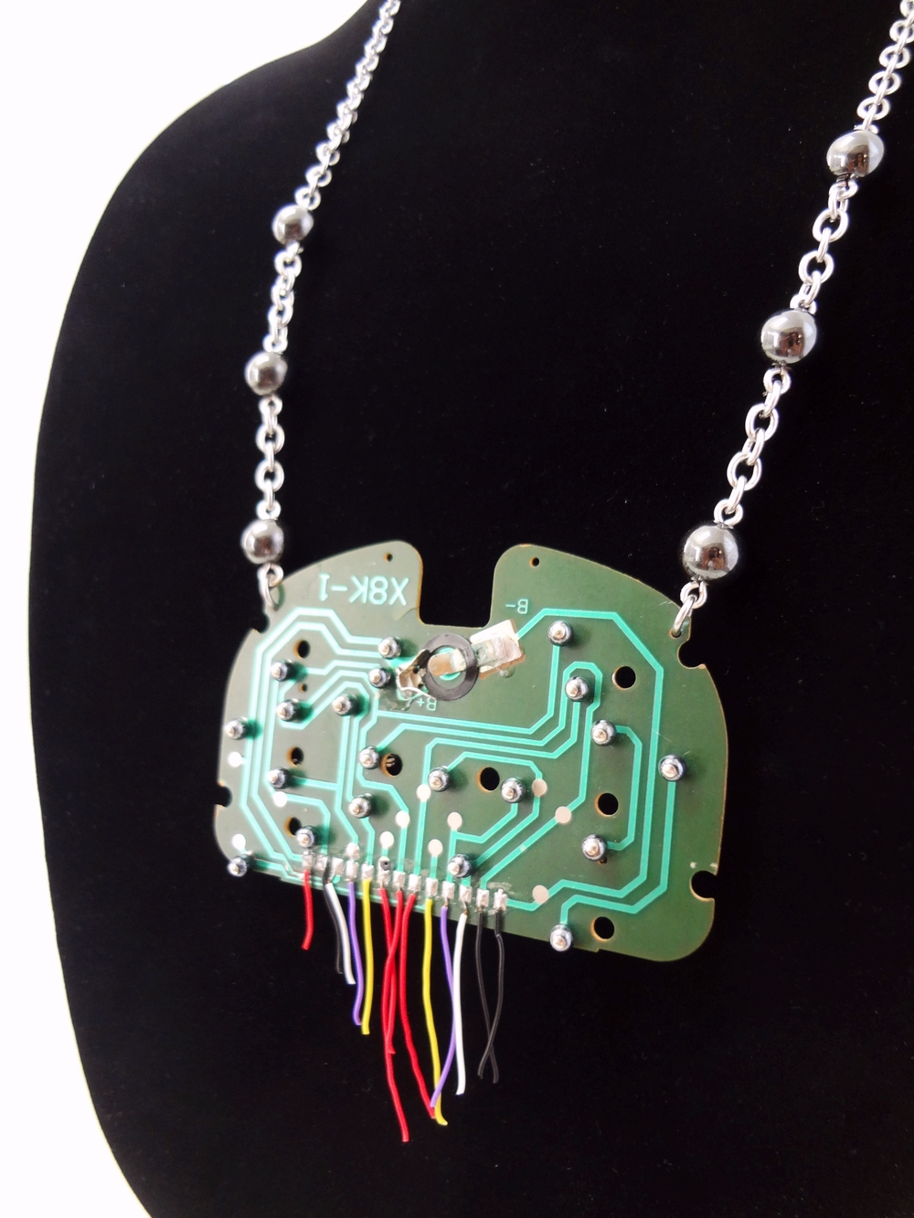 Circuit-Tree Necklace with steel, hematite beads and recycled circuit board