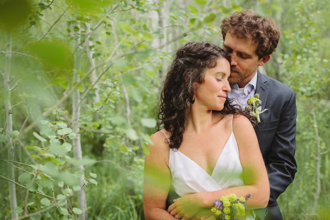 The bride and groom in the birch forest during a wedding at Aspen Hall in Bend, OR
