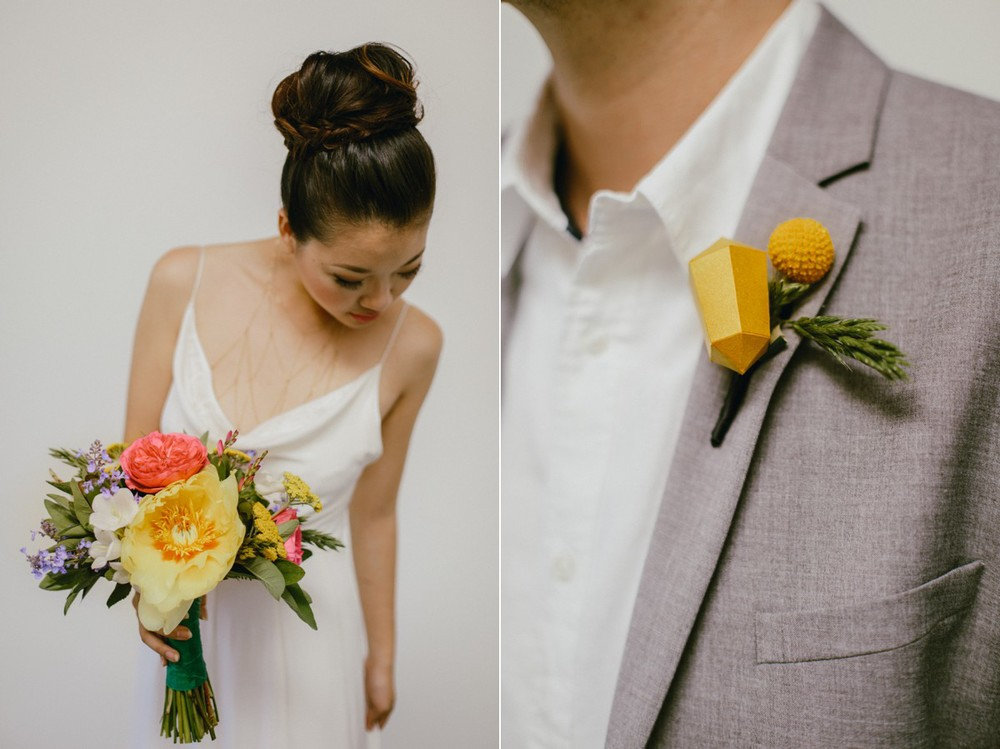 Bright geometric wedding floral inspiration