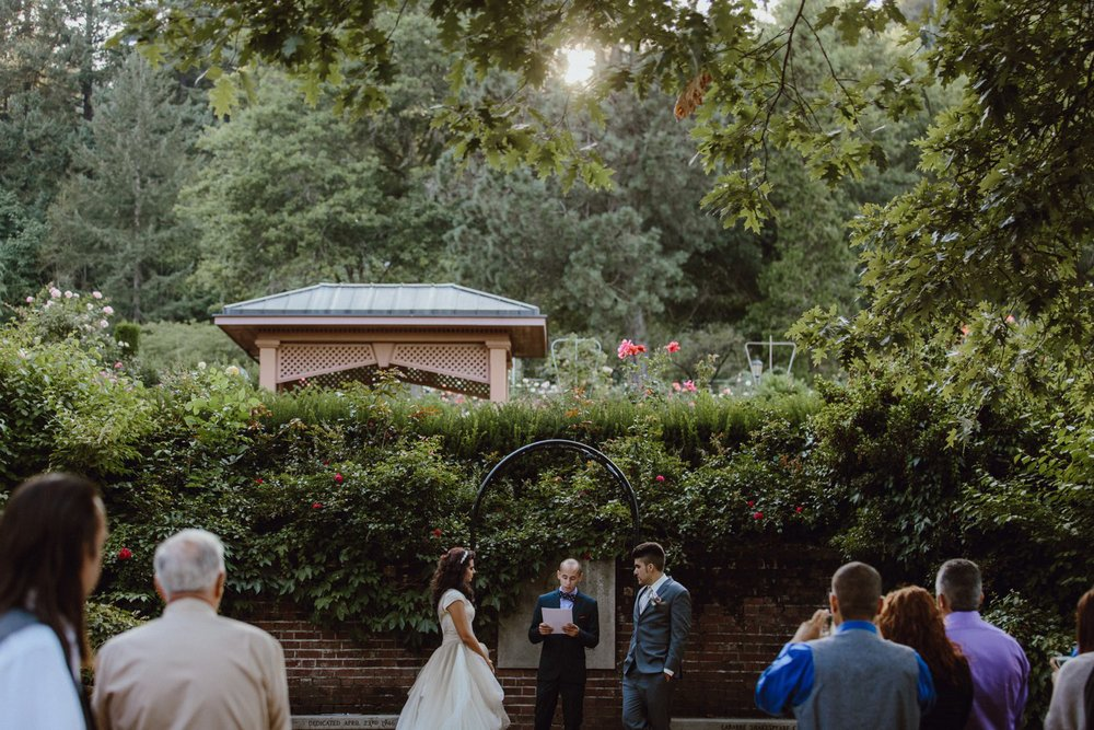 Wedding ceremony at Portland's Rose Garden in Washington Park