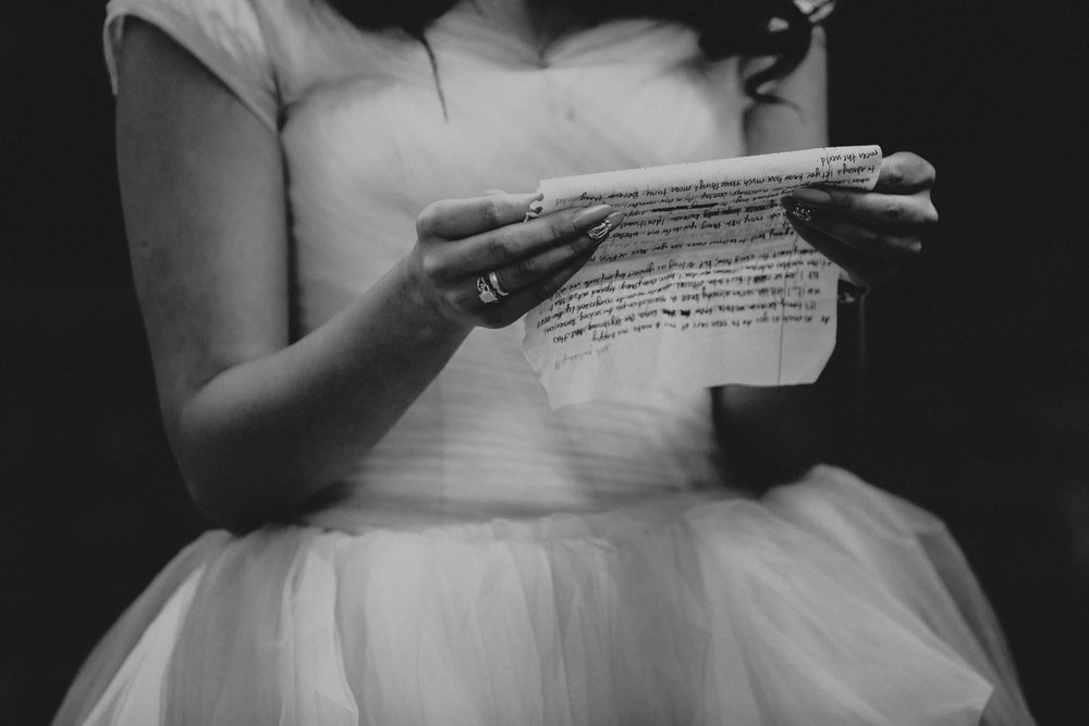 The bride reads her vows at her Portland Oregon wedding
