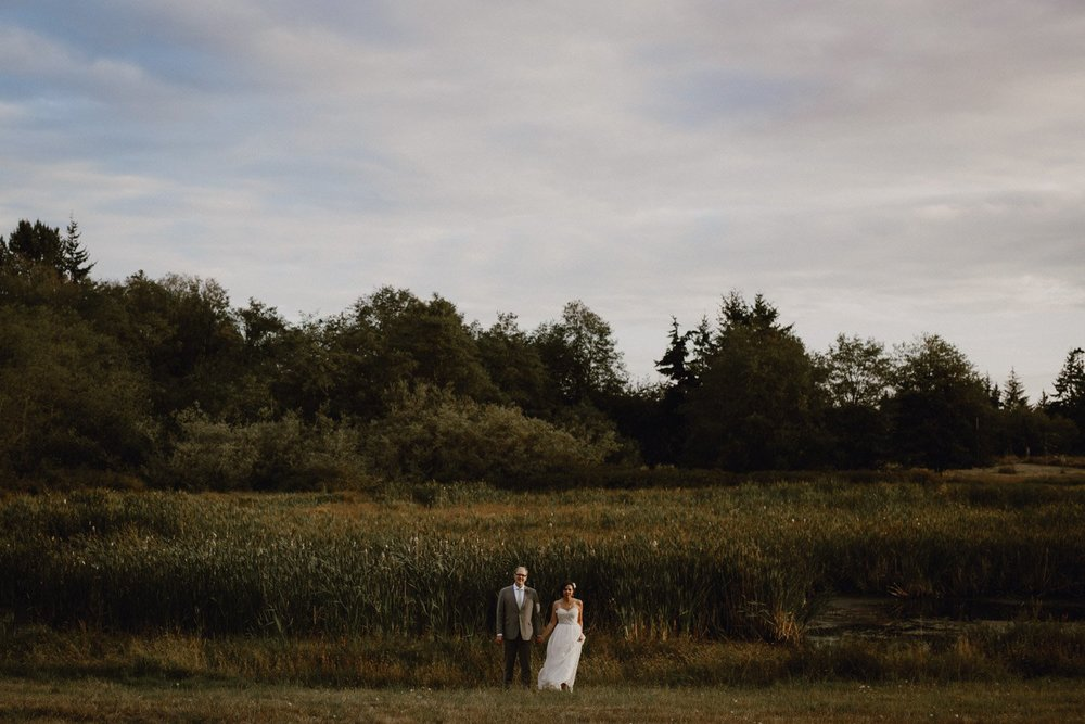 A wedding portrait and Lummi Island landscape