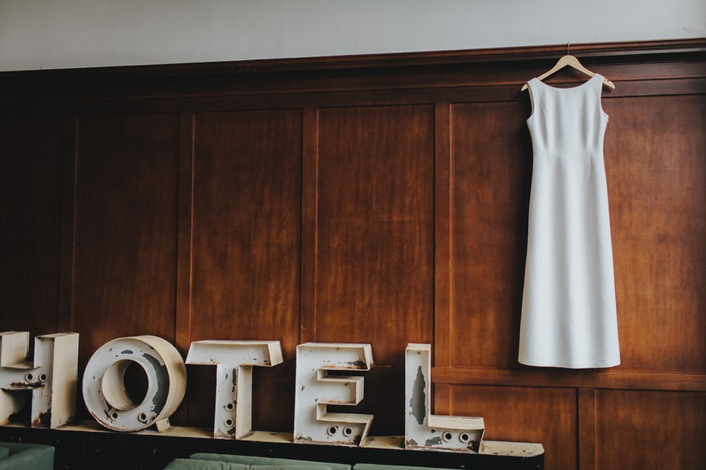 A wedding dress at the Ace Hotel in Downtown Portland